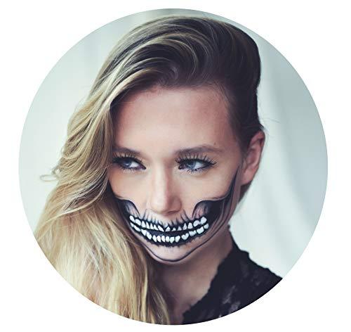 Tattoocrew® 4 x Halloween Tattoos Totenkopf Skull zum Aufkleben für Das Gesicht (Minuten Halloween-make-up In 5)