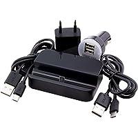 Cavo dati/ricarica c.d.r. marchio Golf Micro USB + Docking Station, alimentatore e adattatore per auto per Samsung Galaxy S2(GT-I9100), S2Plus (GT-I9105P), S3(GT-I9300), S3LTE (i9305), S3mini (GT-I8190), S3Neo i9301(GT), S4(GT-I9505), S4Mini (GT-I9195), S4Active (GT-i9295), S5mini (SM-G800F), S5NEO (SM-G903F), S6(SM-G920F), S6Edge (SM-G925F), S6Edge Plus (G928F), S7, S7Edge, nero, Nero