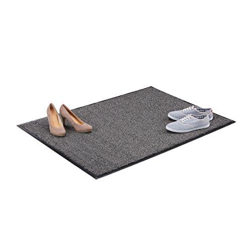Relaxdays Schmutzfangmatte grau, Fußmatte Innen, Schmutzmatte groß, Fußabtreter dünn, Türmatte 90x120 cm, schwarz-grau