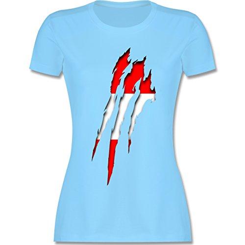 Länder - Österreich Krallenspuren - tailliertes Premium T-Shirt mit Rundhalsausschnitt für Damen Hellblau