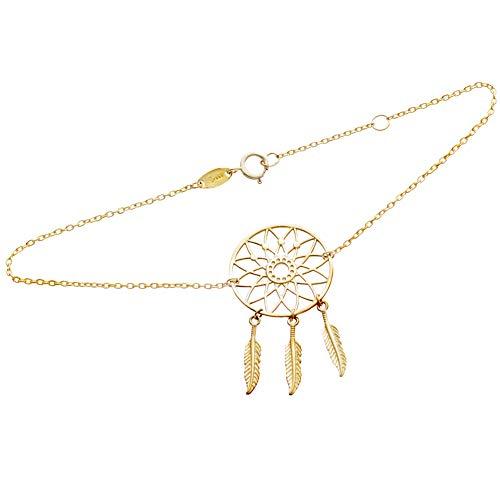 SINEZ - Pulsera de oro para mujer con colgante de atrapasueños de 8 quilates (333), oro amarillo