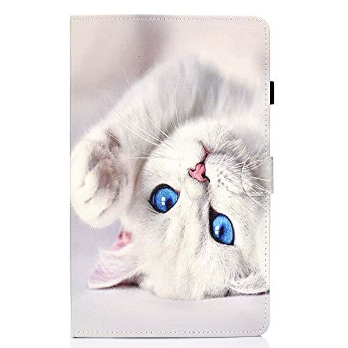 Lspcase Samsung Galaxy Tab A 10.1 Zoll(2019) SM-T510 / SM-T515 PU Schutz Hülle Auto Schlaf/Wachen Design Flip Cover Case mit Standfunktion Karteneinschub & Stifthalter Etui Nette weiße Katze