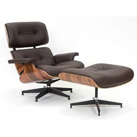 UK9021- Chocolate Brown Leather Charles Eames Lounge Chair and Ottoman by BCT