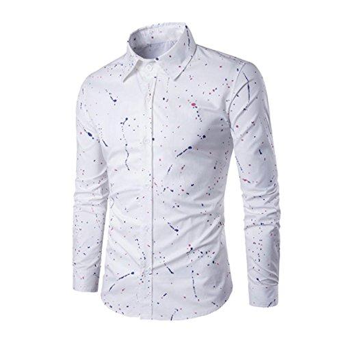 Hemd Herren Btruely Langarm Bluse Drucken T-Shirt Gedruckt Beiläufig Slim Fit Stilvoll Hemd (XL, Weiß)