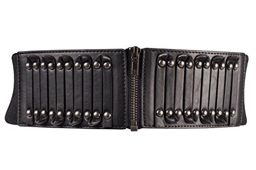 BLT068-Ladies Steampunk Waist Band ZiP metal Stud Elasticated Belt in Black