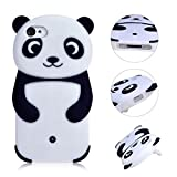 Coque Panda pour iPhone 4 4S Etui,MingKun Housse pour iPhone 4 4S Case Cover Panda Coque Transparente pour iPhone 4 4S Housse Souple de Protection Etui TPU Silicone Soft Case panda Coque Flexible Hull-Noir