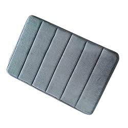 Diossad Alfombra de Baño de Ducha Gris Espuma de Memoria de Microfibra Foam Agua Absorbente Antideslizante Soft Household Rug