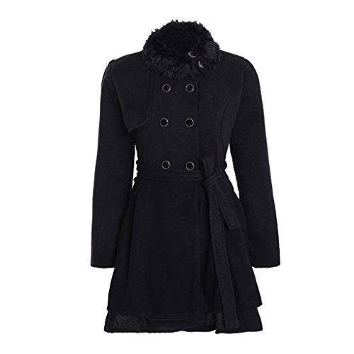 Frau Mantel❀❀ JYJMWomen Warm Slim Coat Jacket Thick Parka Overcoat Long Winter Outwear (XL, Schwarz) (Rock Petite-denim A-linie)