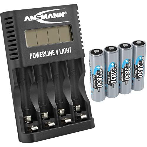 ANSMANN Akku-Ladegerät für 4x AA & AAA NiMH Akkus - Batterieladegerät mit Einzelschachtüberwachung, autom. Abschaltung, Erhaltungsladung & USB Lader | Powerline 4 Light + 4x 2850mAh AA Akkus