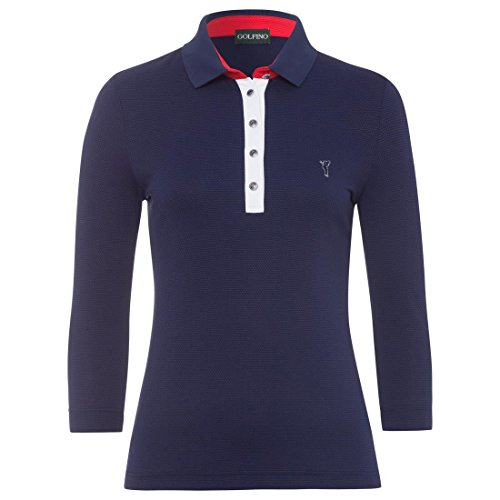 3/4 Ärmel Polo (Golfino Damen Polo mit 3/4-Ärmeln Größe 42 (L) Blau)