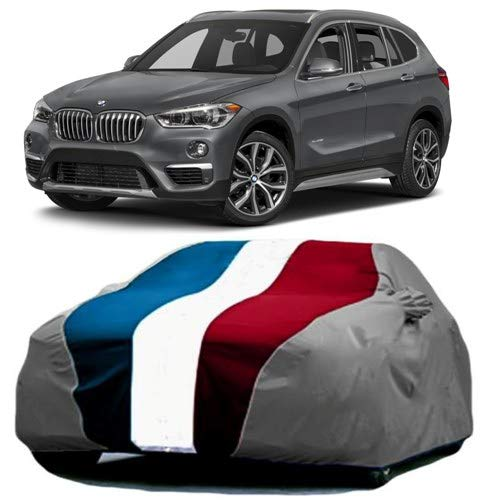 SHAH BROTHERS ENTERPRISES Car Body Cover for BMW X1 Fabric | Triple Stiched |Baklol Red Blue Gray with Mirror Pockets|