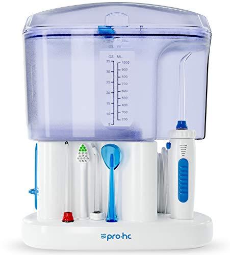 Irrigador Bucal o Dental Premium Pro-HC Water System . Limpieza e Higiene Bucal Profesional . 11 Cabezales Multifunción . 5 Niveles De Potencia 1100 Ml De Capacidad . 4 Meses de Garantía Adicional