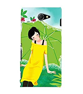 Printvisa Premium Back Cover Yellow Dressed Girl With An Umbrella Design For Sony Xperia M2 Dual D2302::Sony Xperia M2