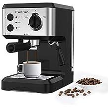 Excelvan Cafetera Espresso 1.25L, 15 Bares con Embudo de Metal Removible, Espumador de
