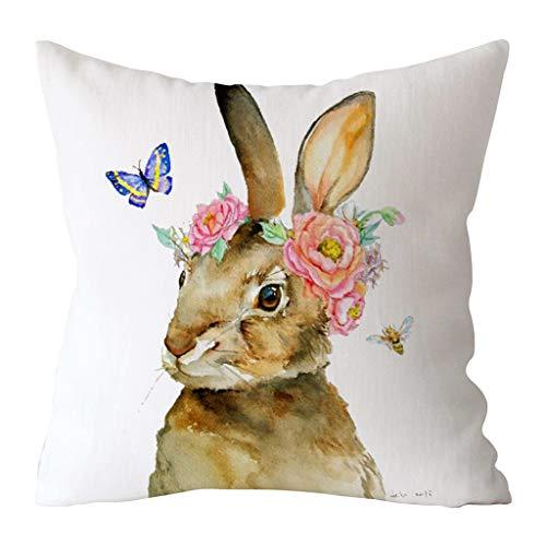 Bunt Ei-Kaninchen Druck Ostern Kissenbezug-Zierkissenbezüge-Kissenbezug-Kissenhülle Auto Home Sofa Decor URIBAKY