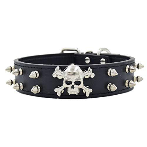 Generisches Klassische Hundehalsband Halsbänder aus PU Leder mit Nieten Totenkopf Cool Design L XL für Mittlere/Große Hunde Hunter 37-52 Halsumfang, Schwarz L