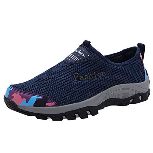Freizeitschuhe Damen Sportschuhe Slip Ons Laufschuhe Weiche Turnschuhe Atmungsaktiv Loafers Fitnessschuhe Outdoor Schuhe Sneaker Frauen Sommer Flache Schuhe (EU:40, Dunkelblau)