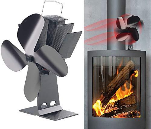 Carlo Milano Ofenventilator: Stromloser Kaminofen-Ventilator mit 4 Lüfter-Blättern, für 65-345 °C (Kaminventilator)