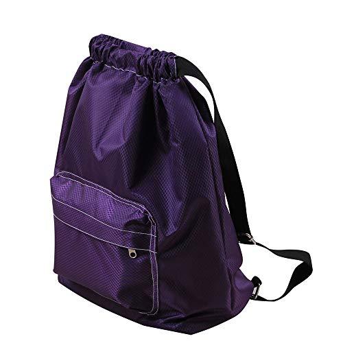 Longzjhd Wasserdicht Kordelzug Rucksack Schwimmen Tasche Im Freien Sport Tasche Tasche mit großen Tasche für Erwachsene Kinder Kinder Jungen Mädchen Turnbeutel Unisex Rucksack (lila) -
