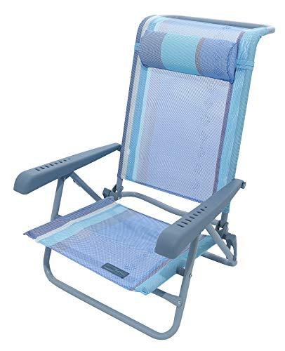 Meerweh Strandstuhl mit Verstellbarer Rückenlehne und Kopfpolster Klappstuhl Anglerstuhl Campingstuhl blau/grün