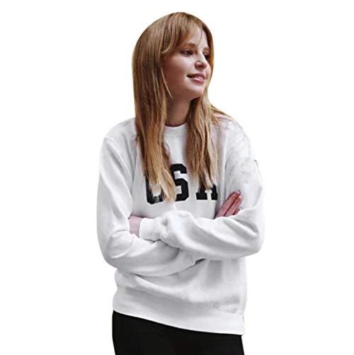 ABsoar Sweatshirt Damen USA Drucken Pullover Langarmshirt Oberteile Lässiges Tops Bluse Streewear Sportshirt Strickpullover -