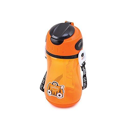 Trunki Bottiglia d'acqua per bambini con paglia e tracolla - Tipu, la tigre (Arancione)