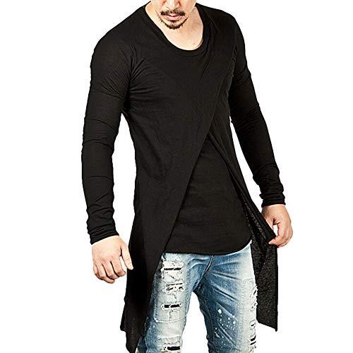 LoveLeiter Herren Schwarz Unregelmäßige Hip Hop beiläufige dünne Lange Spitzenbluse Mode Persönlichkeits Männer T-Shirt Langarm Rundhals Pullover, Longsleeve Slim Fit Lang Leicht Sweatshirt -