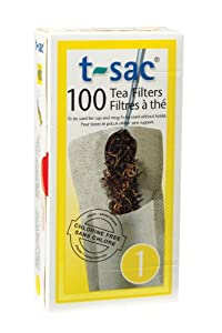 T-Sac Disposable Paper Filter Tea Bags, Size 1, 100 Count