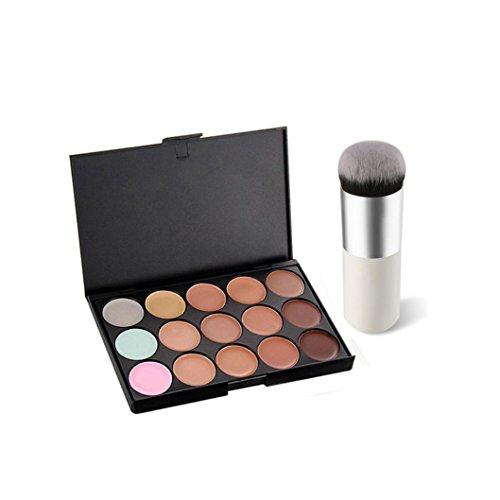 Maquillage Brosse, Kingwo 15 Couleurs Face Concealer Crème Camouflage Contour Palette + 1 PC Brush Set (Argent)