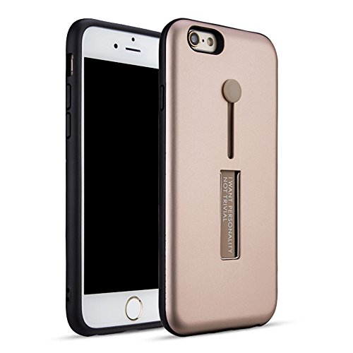 """MOONCASE iPhone 6/iPhone 6s Coque, Ultra Slim Robuste PC Bumper Housse Dual Layer Antichoc avec Support Protection Kits Case pour iPhone 6/iPhone 6s 4.7"""" Bleu Or Rose"""