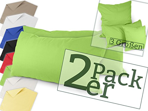 Doppelpack zum Vorteilspreis - Renforcé-Kissenbezüge aus 100% Baumwolle – schlicht und edel im Design, universell einsetzbar und kombinierbar - in 8 Uni-Farben, 40 x 80 cm, grün