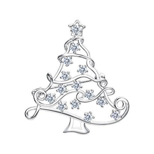 EVER FAITH Weihnachtsbaum Brosche Christmas Tree Pin mit kleinen Sternen baumelnden Kristall Silber-Ton