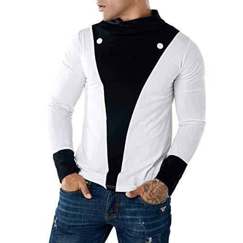 (Freizeit Top -Männer Casual Patchwork Schlank Langarm T-Shirt Pollover Bluse- Sweatjacke Pullover-Langarm Blusen-Sweatshirt Oberteil-Jumper Pullover Oberteile Langarmshirts(Weiß,S))