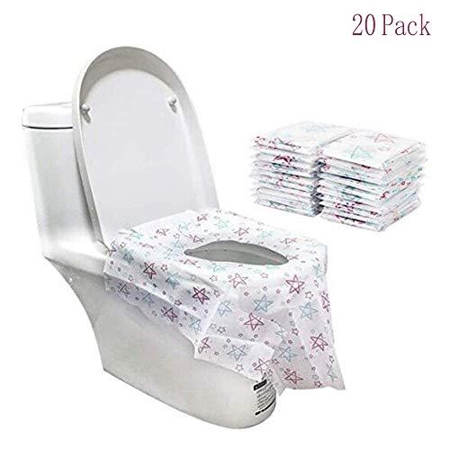 FUJIE 20 Pcs Copriwater Monouso Grande Formato Potty Cover Viaggio Coprisedile WC per Bambini e Donne Incinte