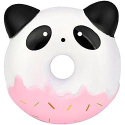 """Juguetes de compresión,Beikoard Peluches cute Panda Donuts kawaii crema perfumado lento levantamiento de estrés juguete de alivio Juguete educativo adolescentes adultos mitigador de estrés (alrededor de 9 cm x9cm X3cm / 3,5 """"x 4"""" x1.1 """", Rosa)"""