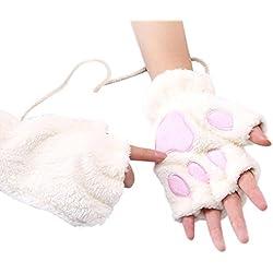 guantes moto mujer invierno Sannysis encantadores guantes de gato Guantes de medias espesas (Blanco)