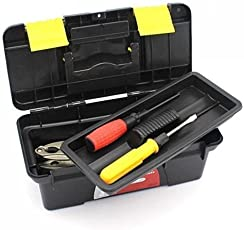 Techsun Universal Compact Plastic Tool Box with Organizer   Drill Kit, Hammer, Tools Accessories, Wrench - Multicolor