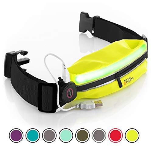 Laufen Gürteltasche für Herren und Damen - Laufgürtel Bauchtasche für iPhone 6, 7 Plus. Sport Hüfttasche Hände Frei Jogging, Laufen - Reflektierend Läufer Gürtel (Gelb-schwarz LED) Dual Pocket Color