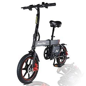 41i8pj1zI6L. SS300 MoovWay Bicicletta Elettrica Pieghevole con Pedali, Sedile Regolabile, Compatta Portatile, velocità Massima 25km/h, Autonomia 20km, Pneumatici 14 Pollici, modalità Crociera (Nero)
