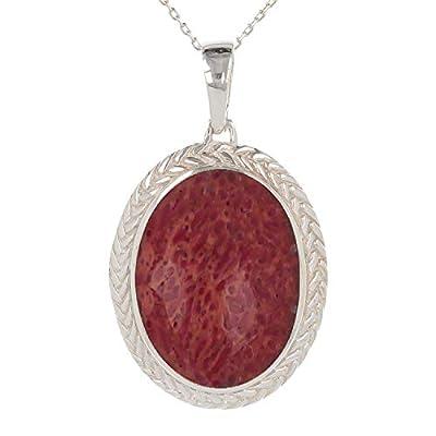 cadeau original femme-bijoux Pendentif -Corail-Argent massif-ovale-Femme