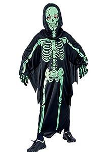 Ciao Disfraz Dark Skeleton Talla M (5-7 años) Niños Unisex, Negro/Verde, 61048.M