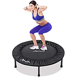MOVTOTOP Trampoline Fitness, Mini Trampoline Pliable avec Coussin de Sécurité, Poids de l'Utilisateur jusqu'à 100 kg