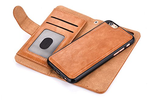 CaseforYou Hülle iPhone 7 Schutz Portemonnaie Schalen Taschen Magnetic Detachable Wallet Case Flip Cover Protective Shell Hülse mit Closure Schutzhülle für iPhone 7 Handy (White) Braun