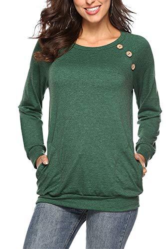 NICIAS Damen Langarmshirt Pullover Lässige Rundhals Sweatshirt Schaltflächen Hemd T Shirt Bluse Tunika Top mit Taschen Grün S -