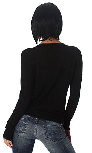 Jela London Damen Pullover in Schnüroptik Einheitsgröße (34-40) Schwarz