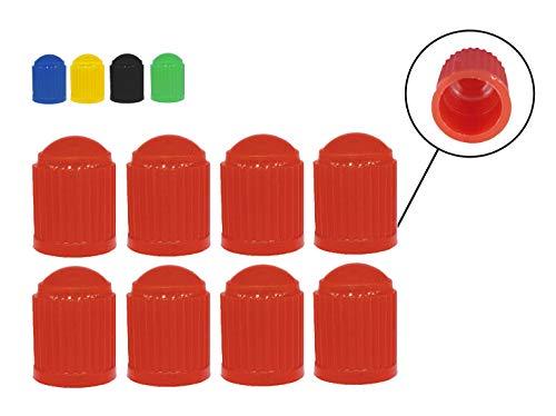 Zymbala 8X Auto Ventilkappen aus Kunststoff in Rot. Passt auf jedes gängige Kfz Ventil (Schraderventil). Reifenventilkappe für Fahrrad, PKW, Motorrad, Moped Schubkarren LKW u. v. m.