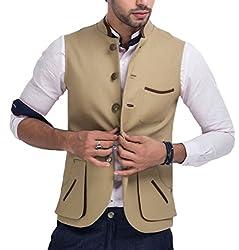 Mr Buttons Mens Slim Fit Nehru Jacket NJA016-M_Beige_Medium