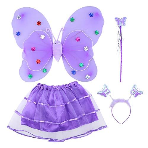 Amosfun 4-teiliges Mädchen-Kostüm-Set mit Feenflügeln, Schmetterlings-Kostüm, Party-Kostüm-Set mit Flügeln, Tutu Halo für Verkleidung, Rollenspiele (lila) (Für Mädchen Halo-kostüme)