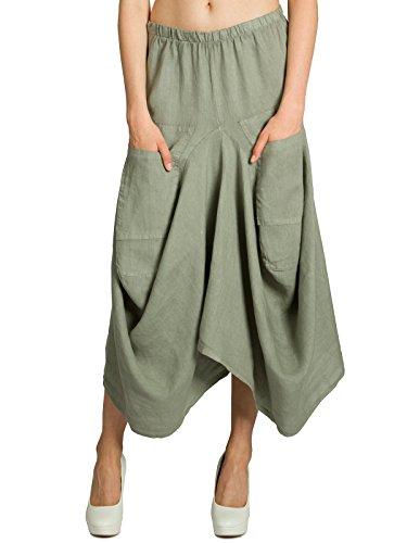 Caspar ro018 donna gonna lunga estiva di lino con tasche, colore:verde oliva;dimensioni:taglia unica