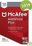 McAfee AntiVirus Plus 2019 - Antivirus, PC/Mac/Android/Smartphones, 10 Dispositivos, Suscripción de 1 año